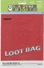 8 Red Plastic Loot/ Party Bags